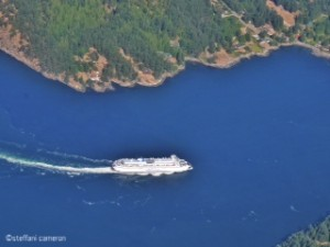 Flying on BC's Helijet.com, I got a good view of the slowpoke ferry below.