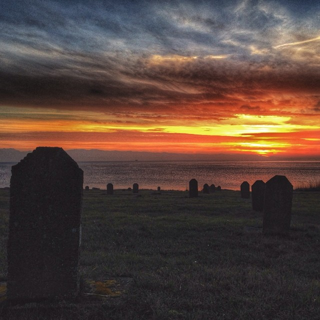 Sunset in a cemetery.